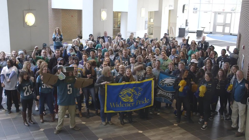 . Widener University Students, faculty and staff wore Eagles gear and created a video to show their support
