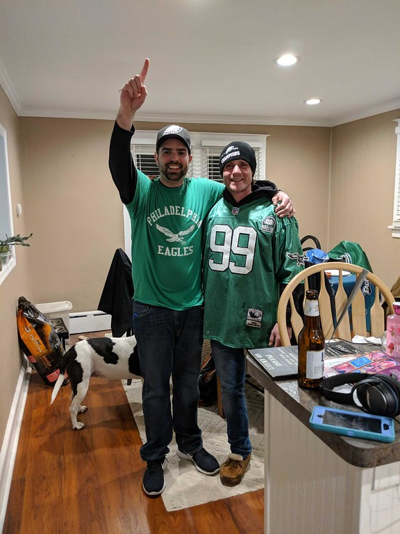 . Brothers, Eric and Justin Noce, celebrating in Wallingford, PA! So is Shelby, Eric�s dog.