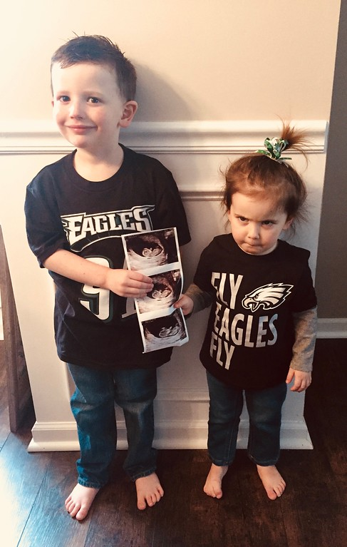 . We are adding another Eagles fan to our family! Baby #3 coming in August! GO EAGLES!!!! Photo by Cara Gunther