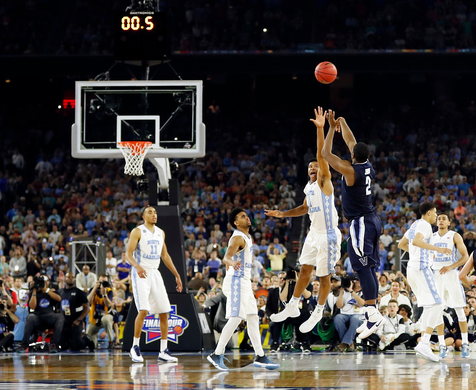 . FILE - In this April 4, 2016, file photo, Villanova\'s Kris Jenkins makes the game-winning three-point shot during the second half of the NCAA Final Four tournament college basketball championship game against North Carolina, in Houston. Top-seeded Villanova faces No. 8 seed Wisconsin in the second round of the East region on Saturday, March 18, 2017. (AP Photo/David J. Phillip, File)