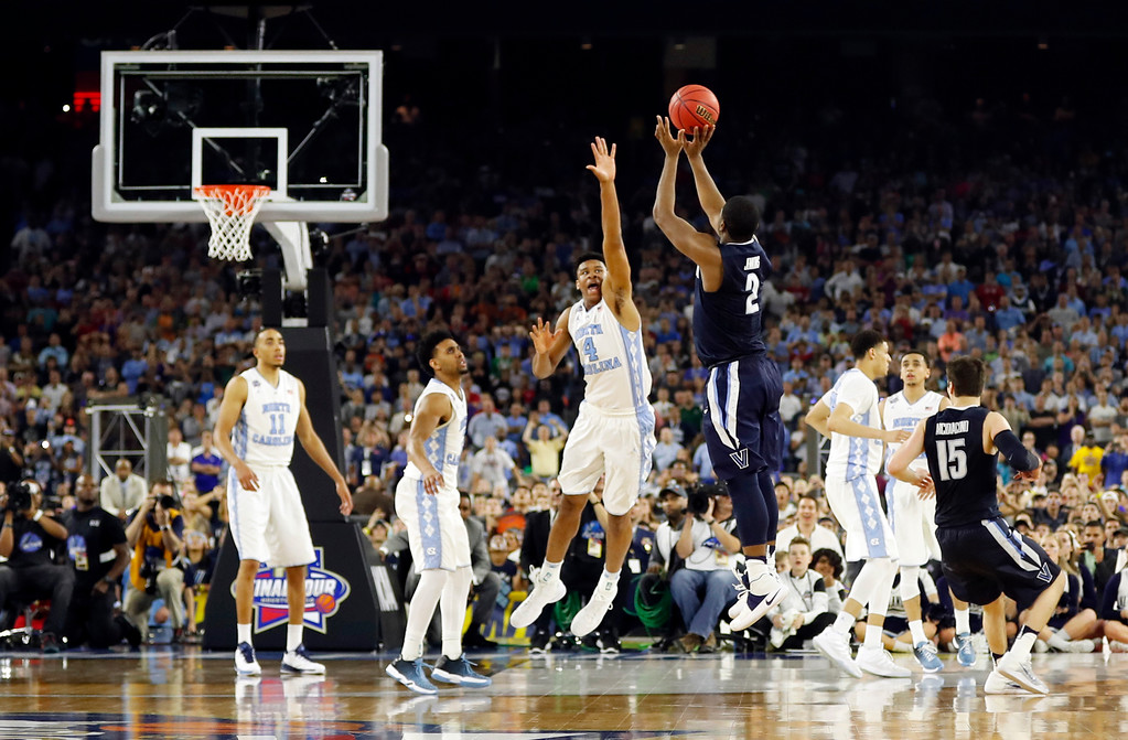 . Villanova\'s Kris Jenkins makes the game-winning three-point shot during the second half of the NCAA Final Four tournament college basketball championship game against North Carolina Monday, April 4, 2016, in Houston. (AP Photo/David J. Phillip)