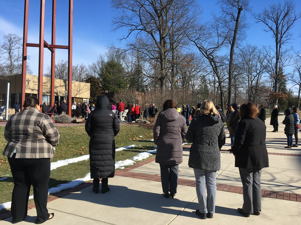 . More than 100 students, faculty, and staff from Gwynedd Mercy University participated in the National School Walkout. Students gathered around the campus bell tower for 17 minutes of silence as the bells rung 17 times in honor of the victims, survivors, and their families. The goal of the national protests is to urge lawmakers to enact stricter gun laws to prevent future mass shootings. (Submitted photo)