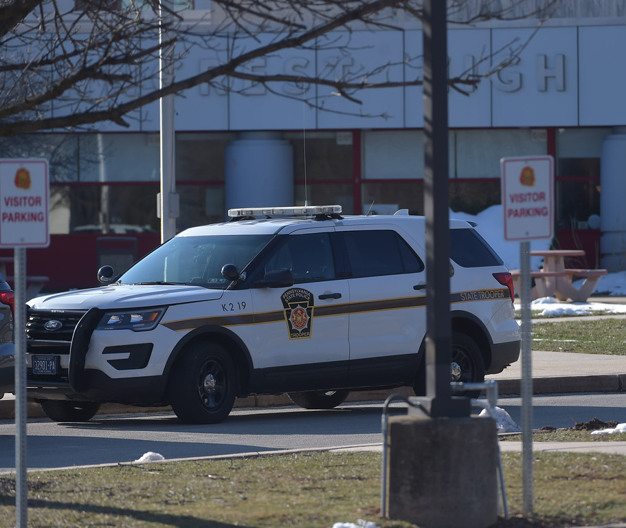 . PETE  BANNAN-DIGITAL FIRST MEDIA      A Pennsylvania State police car  outside Penncrest High School Wednesday morning.  The campus was clsed during the student walkout.