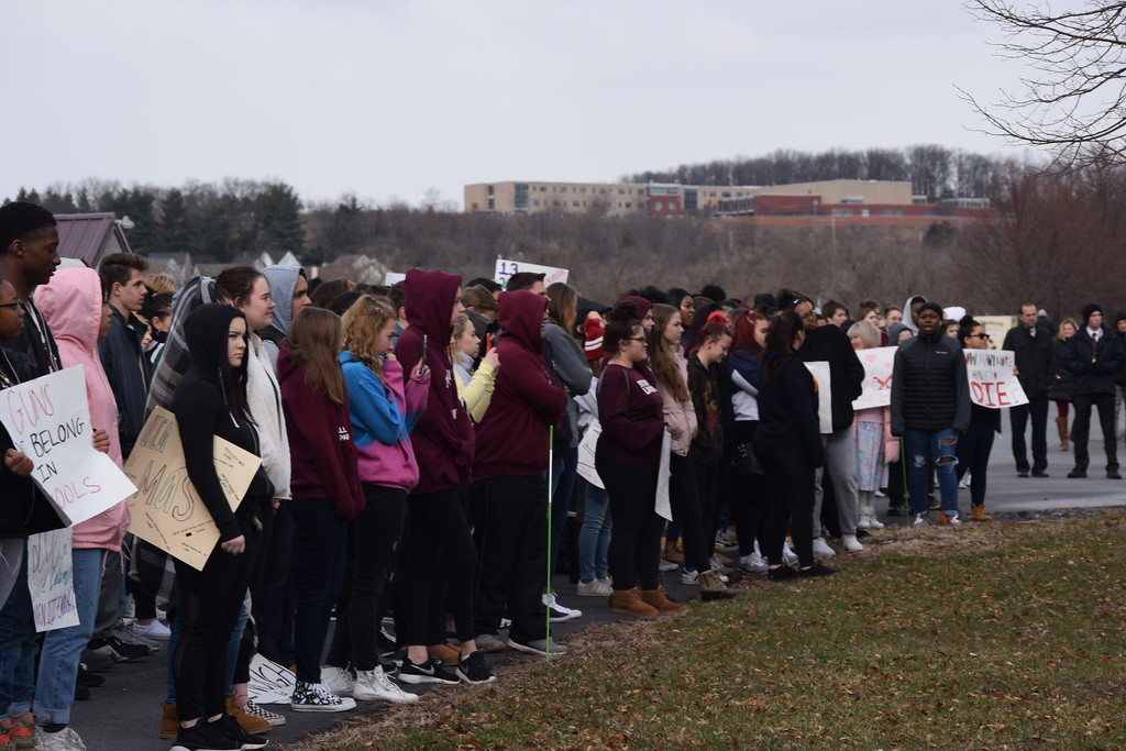 . Students from Pottsgrove High School lined School lane with signs about school gun violence as part of National Walkout Day. The students took 17 minutes out of their school day to demonstrate.  Photo by Marian Dennis