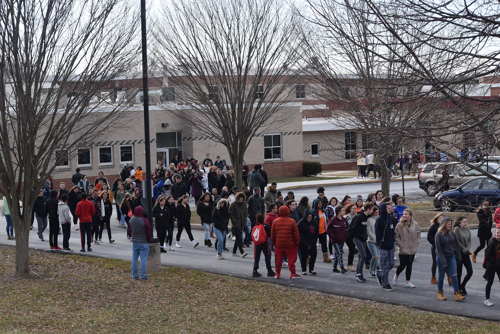 . At 10 a.m. Wednesday, 700 students walked out of Pottsgrove High School to make their voices heard on National Walkout Day.  Photo by Marian Dennis