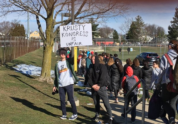 . Haverford students protest. Photo by Pete Bannan