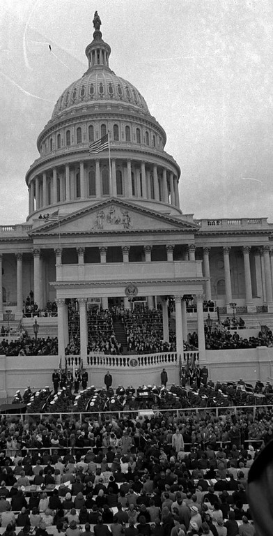 . Richard M. Nixon takes the oath as President of the United States on the steps of the U.S. Capitol in Washington on Jan. 20, 1969.  Justice Earl Warren administers the oath. (AP Photo)