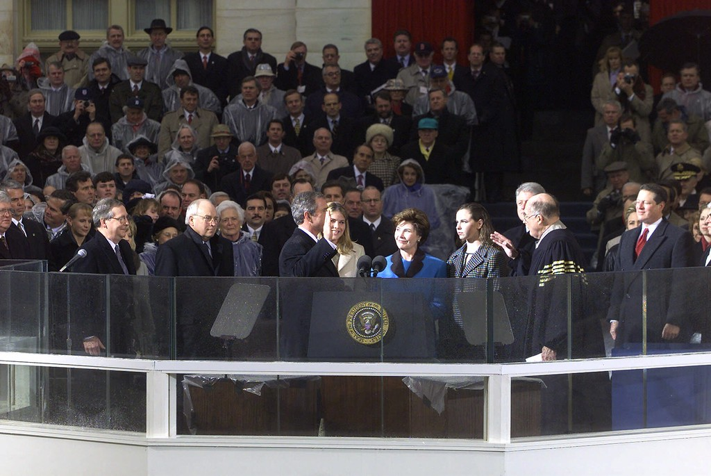 . George W. Bush is sworn in as the 43rd President of the United States outside the U.S. Capitol in Washington Saturday, Jan. 20, 2001. (AP Photo/Ron Edmonds)