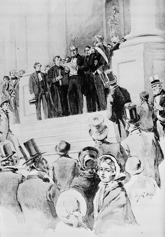 . President James Buchanan delivers his address after being sworn in as the 15th president of the United States in front of the Capitol in Washington, D.C., March 4, 1857.  The oath was administered by Chief Justice Roger B. Taney.  (AP Photo)