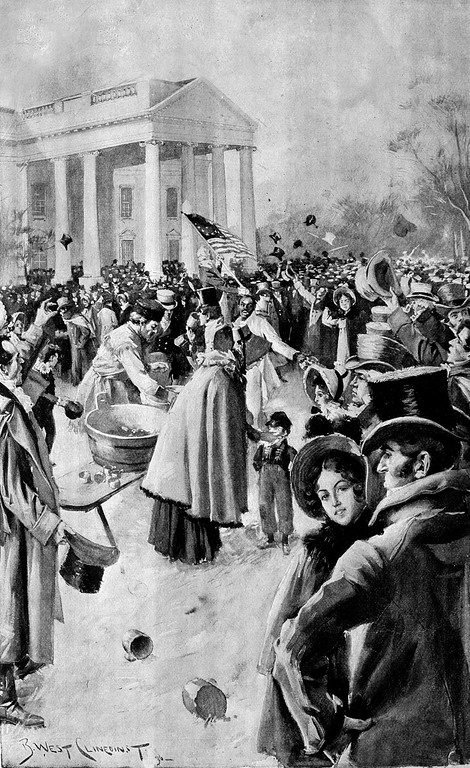 . This artist\'s rendition shows the crush of people after President Andrew Jackson\'s inaugural ceremony, held on the East Portico of the Capitol building for the first time, in Washington, D.C., on March 4, 1829.  Following the inaugural proceedings, more than 20,000 well-wishers came to the White House to meet President Jackson.  (AP Photo)