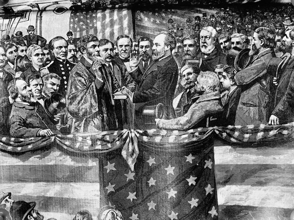 . Depicted in this undated illustration from an old print, the inauguration of President James A. Garfield in 1881 by Supreme Court Justice Noah H. Swayne. (AP Photo)