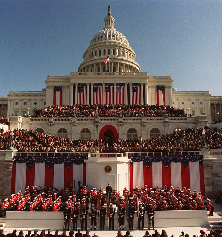 . FILE--President Clinton, center podium, delivers his inaugural address after being sworn in as the 42nd president of the United States on Jan. 20, 1993. Clinton will be sworn-in for a second term in front of the Capitol on Monday, Jan. 20, 1997, along with Vice President Al Gore. (AP Photo/Ron Edmonds)