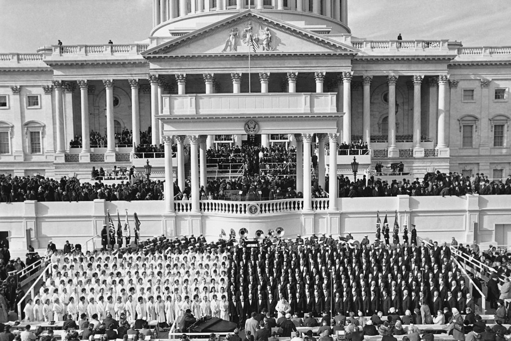 . Members of the Mormon Tabernacle Choir are shown at the Capitol in Washington, Jan. 20, 1965 moments before the arrival of President Lyndon Johnson for his inaugural. (AP Photo)