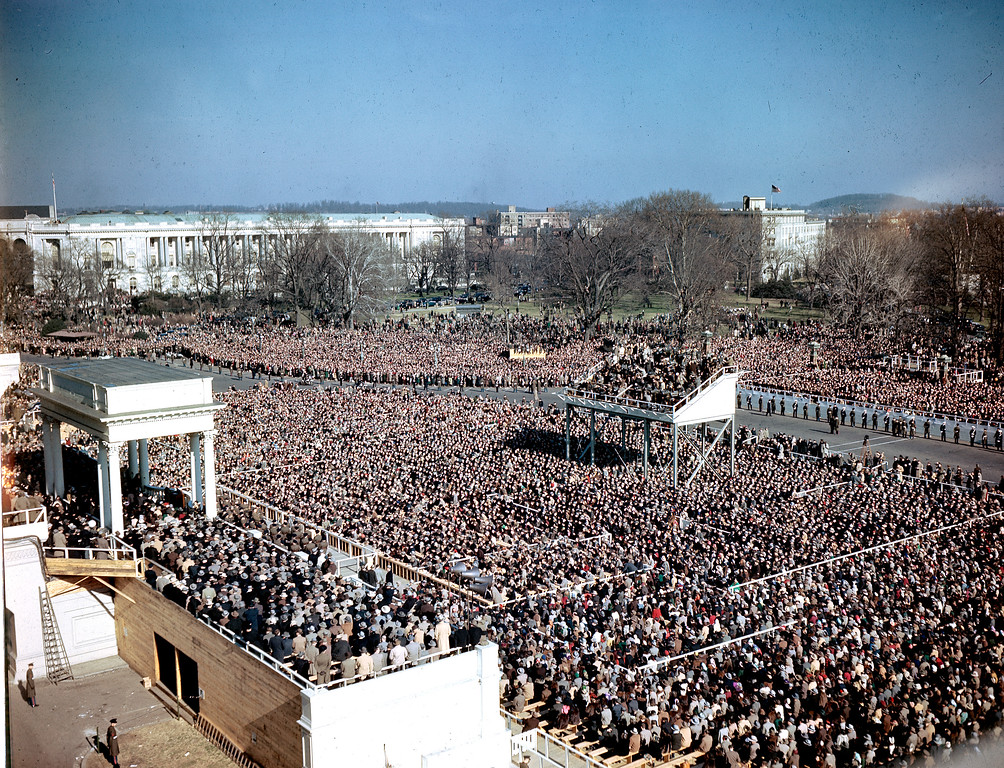. People gather in front of the Capitol Building for Harry S. Truman\'s inauguration ceremony as he takes the oath of office in Washington, D.C., on Jan. 20, 1949. (AP Photo)