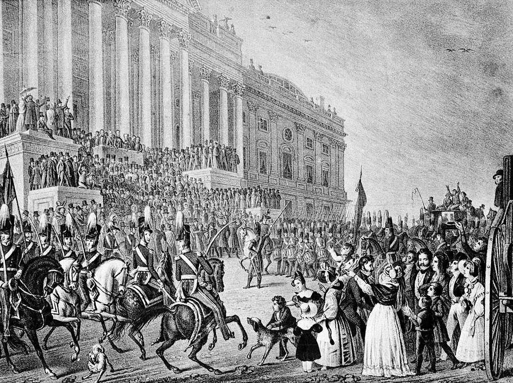 . This is an artist\'s impression of President William Henry Harrison\'s inauguration in Washington, D.C., on March 4, 1841.  Harrison declined the offer of a closed carriage and rode on horseback to the Capitol, braving cold temperatures and a northeast wind. After speaking for more than an hour, he returned to the White House on horseback, catching a chill that eventually turned to pneumonia. He died a month later.  (AP Photo)