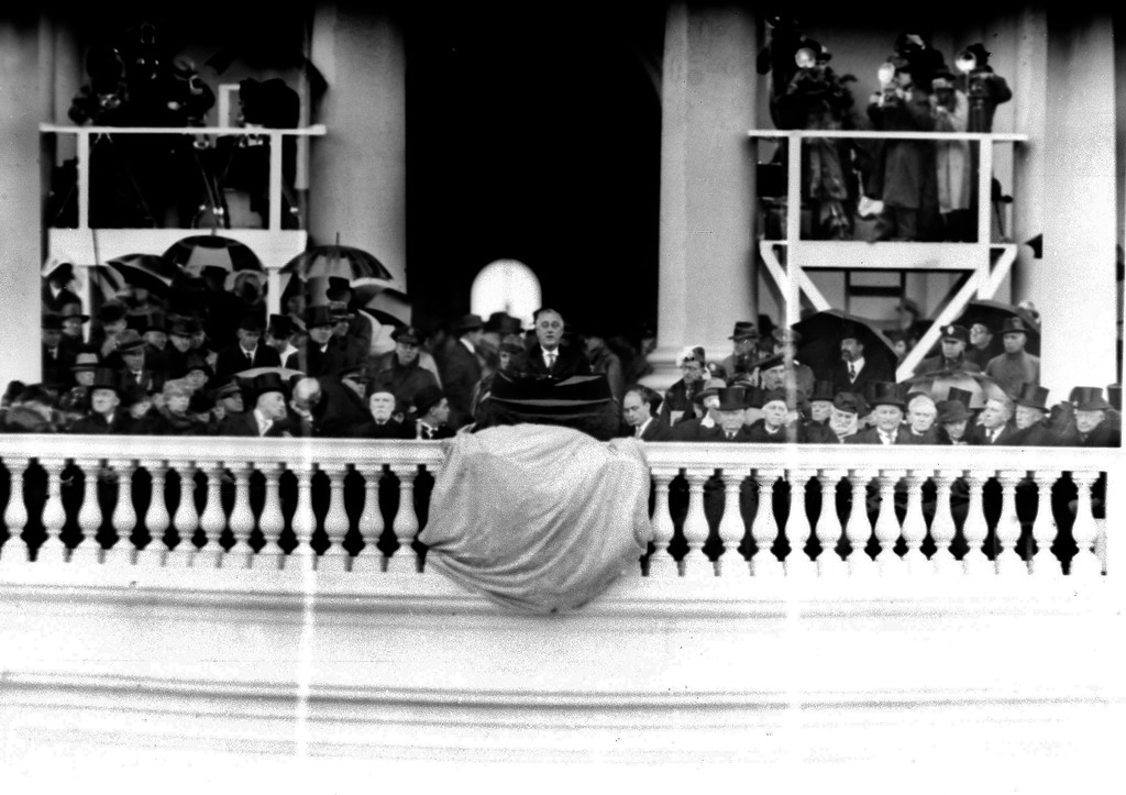 . President Franklin D. Roosevelt speaks during his rainy second inaugural ceremony in Washington, Jan. 20, 1937. (AP Photo)