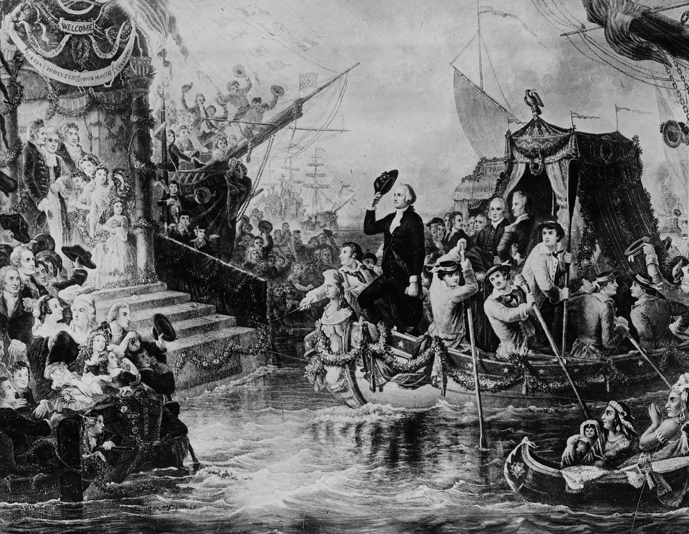 . This drawing depicts George Washington arriving in New York by barge on his inauguration day on April 30, 1789.  The nation\'s first president took his oath of ofiice on the balcony of Federal Hall on Wall Street.  (AP Photo)