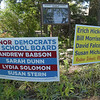 PETE BANNAN _ DIGITAL FIRST MEDIA    Campaign signs for Radnor school board in front of Radnor United ethodist Church.