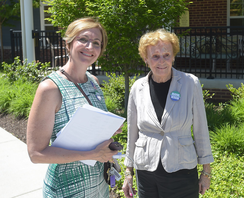 . PETE BANNAN _ DIGITAL FIRST MEDIA  West Chester mayoral candidate Dianne Herrin with her mother, Barbara Taylor Tuesday afternoon at Ward 1 at the Mary Taylor House.