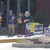 PETE BANNAN _ DIGITAL FIRST MEDIA    Mollie Plotkin, candidate for  Radnor commissior, volunteer Ryan DeMara,  Radnor treasurer, candidate Kathryn Gartland  and Susan Michaelson, candidate for Radnor school board wait for voters at the Radnor Municipal building Tuesday morning.