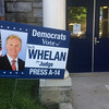PETE BANNAN _ DIGITAL FIRST MEDIA    A number of  Democratic officials were unhappy with this Jack Whelan sign. Whelan is the Republician District Attorney running for Jude. In the primary he was able to cross file on both party ballots.