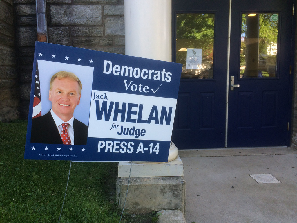 . PETE BANNAN _ DIGITAL FIRST MEDIA    A number of  Democratic officials were unhappy with this Jack Whelan sign. Whelan is the Republician District Attorney running for Jude. In the primary he was able to cross file on both party ballots.
