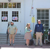 PETE BANNAN _ DIGITAL FIRST MEDIA   Matthew Eckmanm Wilhem Alcivar, Lindsey Walaski , Jeff Heim and Janet Colliton wait for voters Tuesday morning at Ward 6, at the 1st Presbyterian Church.