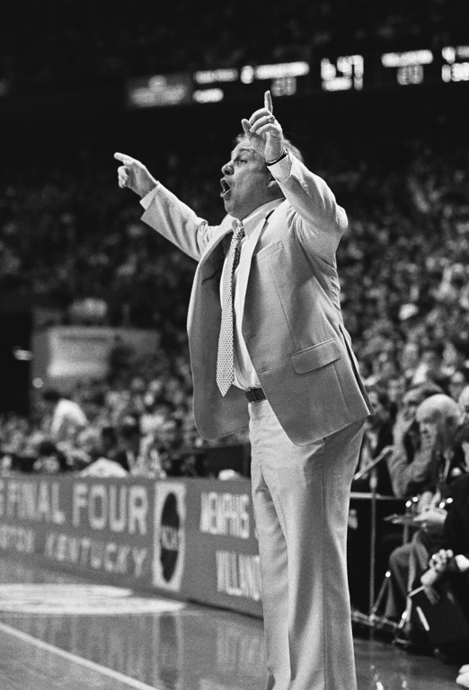 . Villanova coach Rollie Massimino yells to the floor during the Wildcats NCAA Championship game against the Georgetown Hoyas in Lexington Monday, April 1, 1985. (AP Photo)