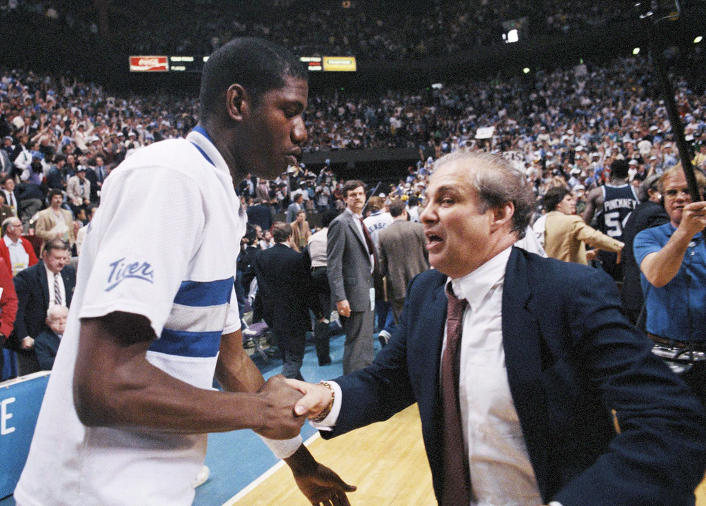 . Villanova basketball coach Rollie Massimino on March 30, 1985. (AP Photo/Richard Drew)