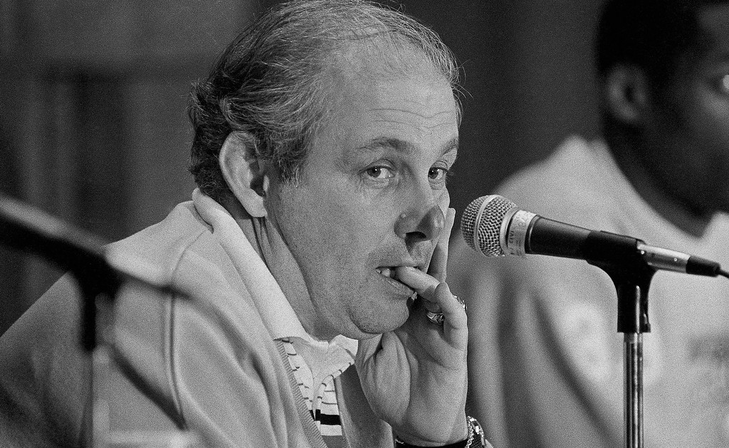 . Villanova coach Rollie Massimino, coach makes comments at a press conference in Birmingham on Saturday, March 23, 1985 about Sunday?s final game of the Southeast Regional play. Winner of the Sunday game will to Lexington, Ky. for the ?Final Four? tournament. (AP Photo)
