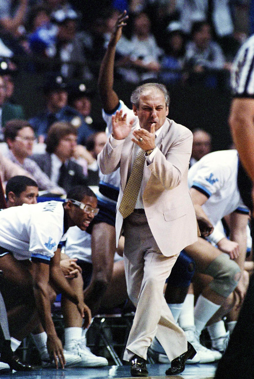 . Villanova basketball coach Rollie Massimino  March 30, 1985. (AP Photo/Richard Drew)