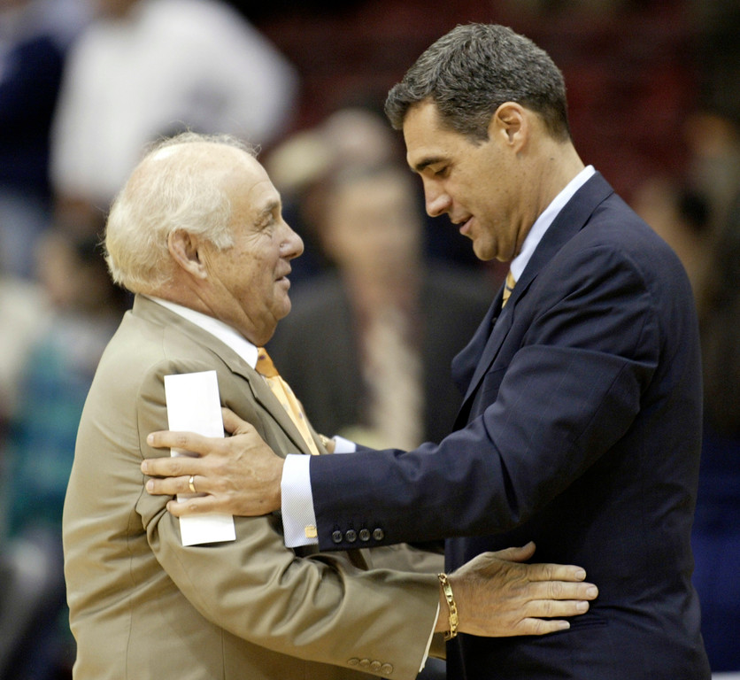 . Northwood head coach Rollie Massimino, left, and Villanova head coach Jay Wright greet each other before the start n exhibition college basketball game at the Wachovia Spectrum Thursday, Nov. 6, 2008, in Philadelphia. (AP Photo/H. Rumph Jr)