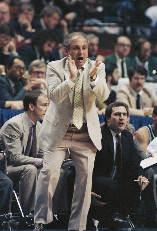 . Villanova coach Rollie Massimino during game against Georgetown  April 1, 1985. (AP Photo/ Richard Drew)