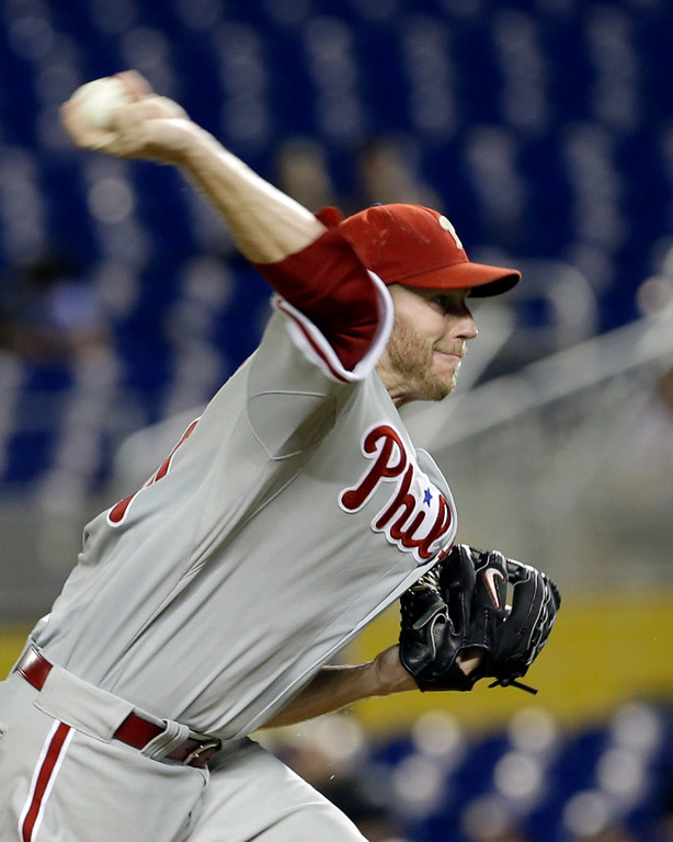 . Philadelphia Phillies starting pitcher Roy Halladay pitches against the Miami Marlins during a baseball game, Monday, Sept. 23, 2013, in Miami. (AP Photo/Alan Diaz)