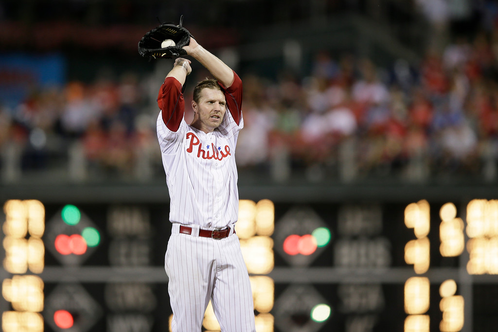 . Philadelphia Phillies\' Roy Halladay in action during a baseball game against the Washington Nationals, Wednesday, Sept. 4, 2013, in Philadelphia. (AP Photo/Matt Slocum)