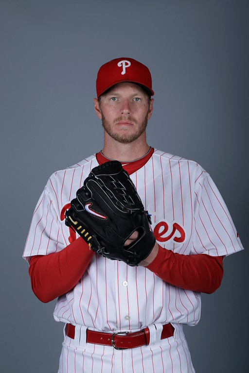 . This is a 2013 photo of Roy Halladay of the Philadelphia Phillies baseball team. This image reflects the Phillies\' spring training roster as of Monday, Feb. 18, 2013, when this image was taken. (AP Photo/Matt Slocum)