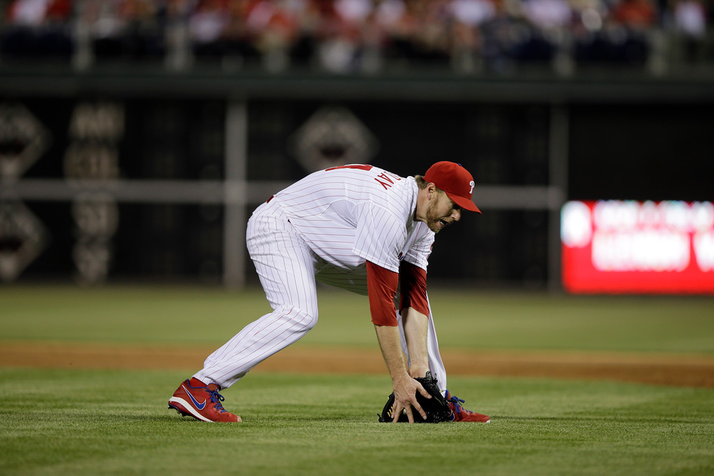 . Philadelphia Phillies\' Roy Halladay in action during a baseball game against the St. Louis Cardinals, Friday, April 19, 2013, in Philadelphia. (AP Photo/Matt Slocum)