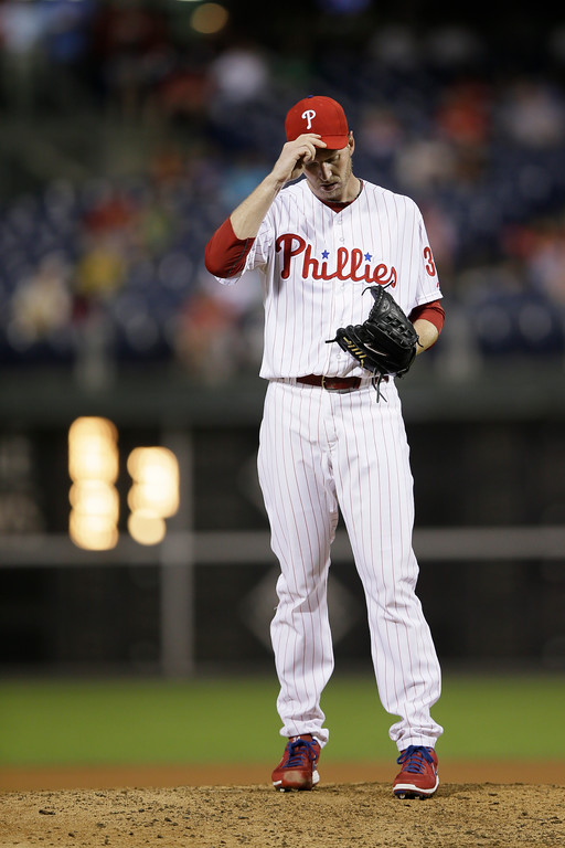 . Philadelphia Phillies\' Roy Halladay in action during a baseball game against the San Diego Padres, Thursday, Sept. 12, 2013, in Philadelphia. (AP Photo/Matt Slocum)