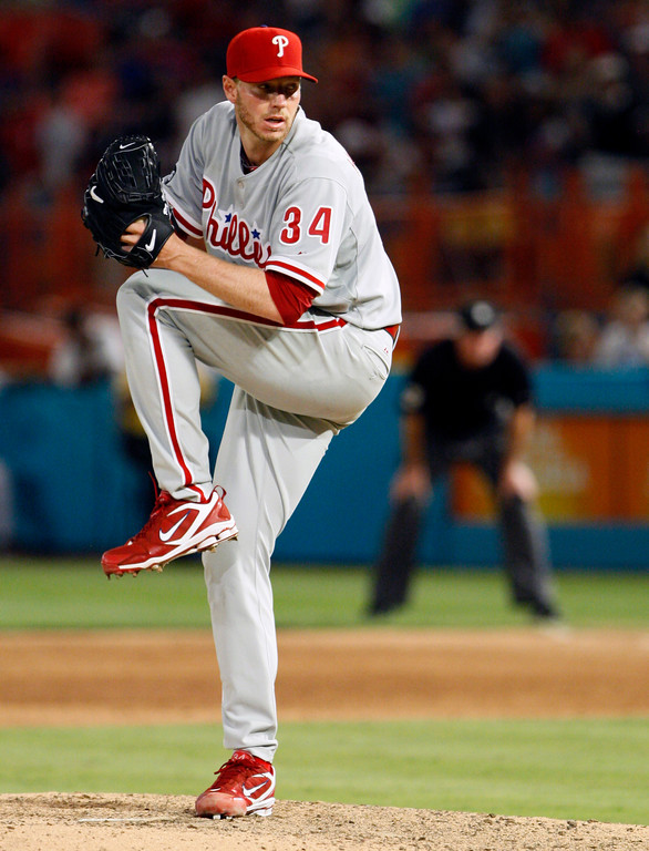 . Philadelphia Phillies starting pitcher Roy Halladay throws a pitch in the ninth inning of a baseball game against the Florida Marlins, Saturday, May 29, 2010 in Miami. Halladay threw a perfect game as the Phillies defeated the Marlins 1-0. (AP Photo/Wilfredo Lee)
