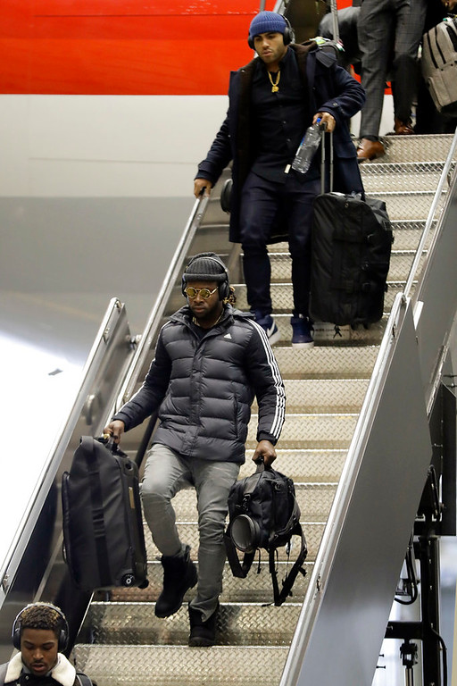 . Philadelphia Eagles defensive back Randall Goforth, center, arrives with teammates for the NFL Super Bowl 52 football game Sunday, Jan. 28, 2018, in Minneapolis. Philadelphia is scheduled to face the New England Patriots. (AP Photo/Eric Gay)