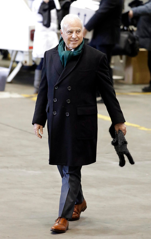 . Philadelphia Eagles owner Jeffrey Lurie arrives for the NFL Super Bowl 52 football game Sunday, Jan. 28, 2018, in Minneapolis. The Eagles are scheduled to face the New England Patriots Feb. 4.(AP Photo/Mark Humphrey)