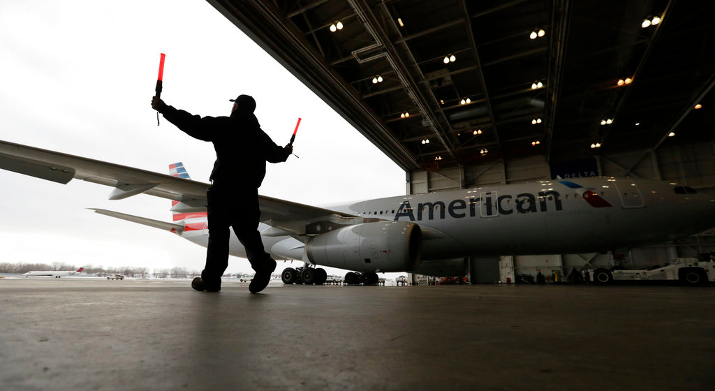. The Philadelphia Eagles team plane arrives for the NFL Super Bowl 52 football game Sunday, Jan. 28, 2018, in Minneapolis. Philadelphia a a scheduled to face the New England Patriots. (AP Photo/Eric Gay)