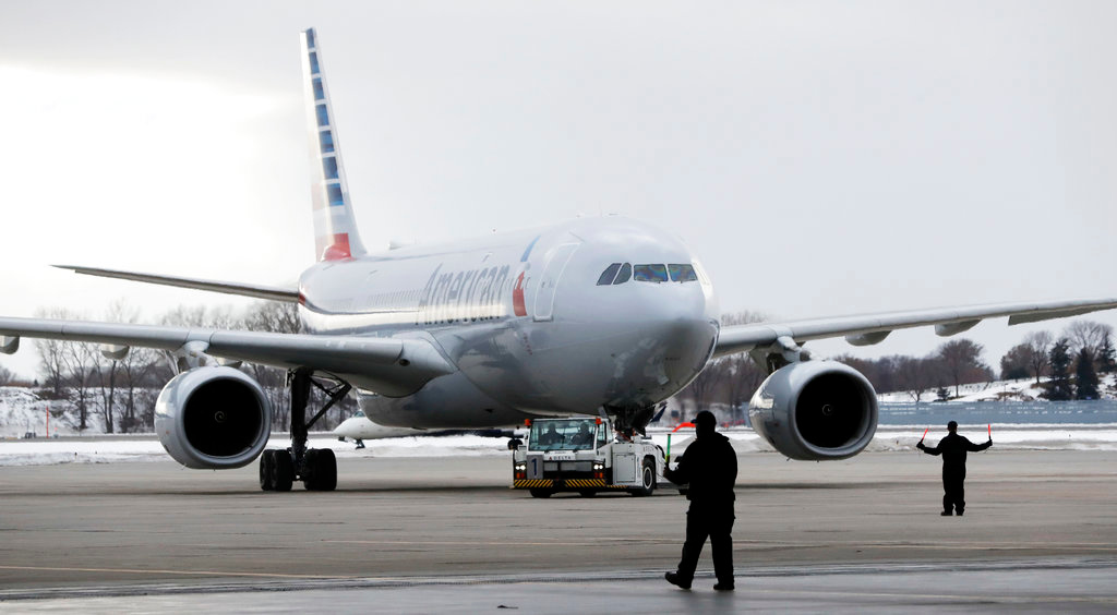 . The plane carrying the Philadelphia Eagles arrives Sunday, Jan. 28, 2018, for the NFL Super Bowl 52 football game in Minneapolis. The Eagles are scheduled to face the New England Patriots Sunday, Feb. 4.(AP Photo/Mark Humphrey)