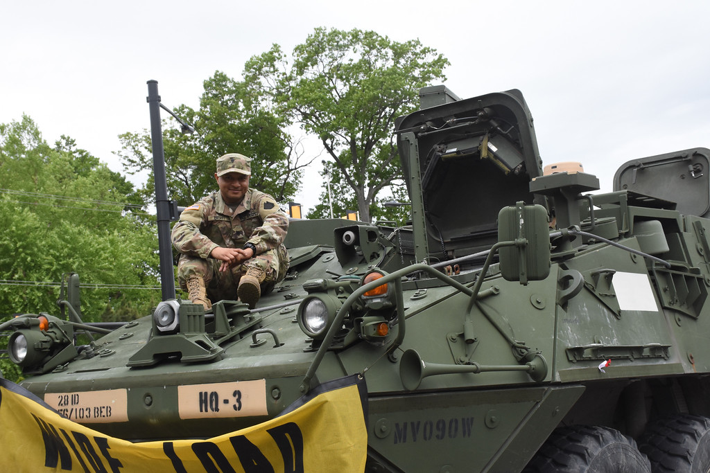 . Nipun Bisht of Lansdowne who in the National Guard US. Army 103rd Engineers. He is siting on top of a Stryker.