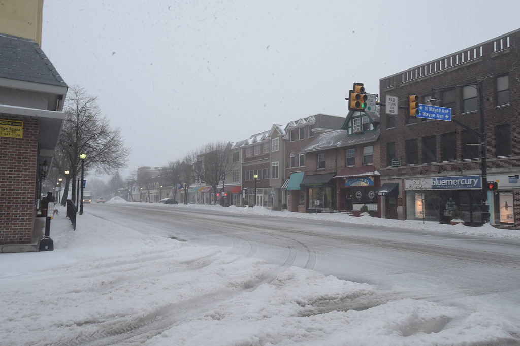 . PETE  BANNAN-DIGITAL FIRST MEDIA     Lancaster Ave. in  Wayne is empty Tuesday morning. The Township declared a snow emergency to make clearing the roads easier.