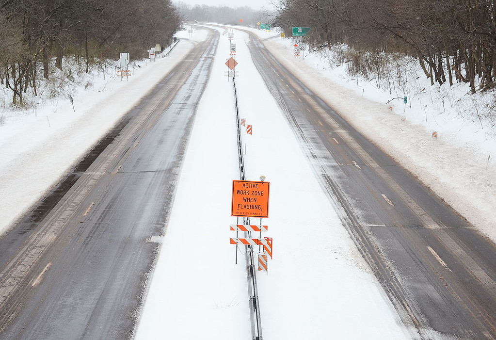 . Rt 422 in North Coventry remained partially snow covered without much traffic in the middle of the afternoon in North Coventry on Tuesday.....Photo/Tom Kelly III