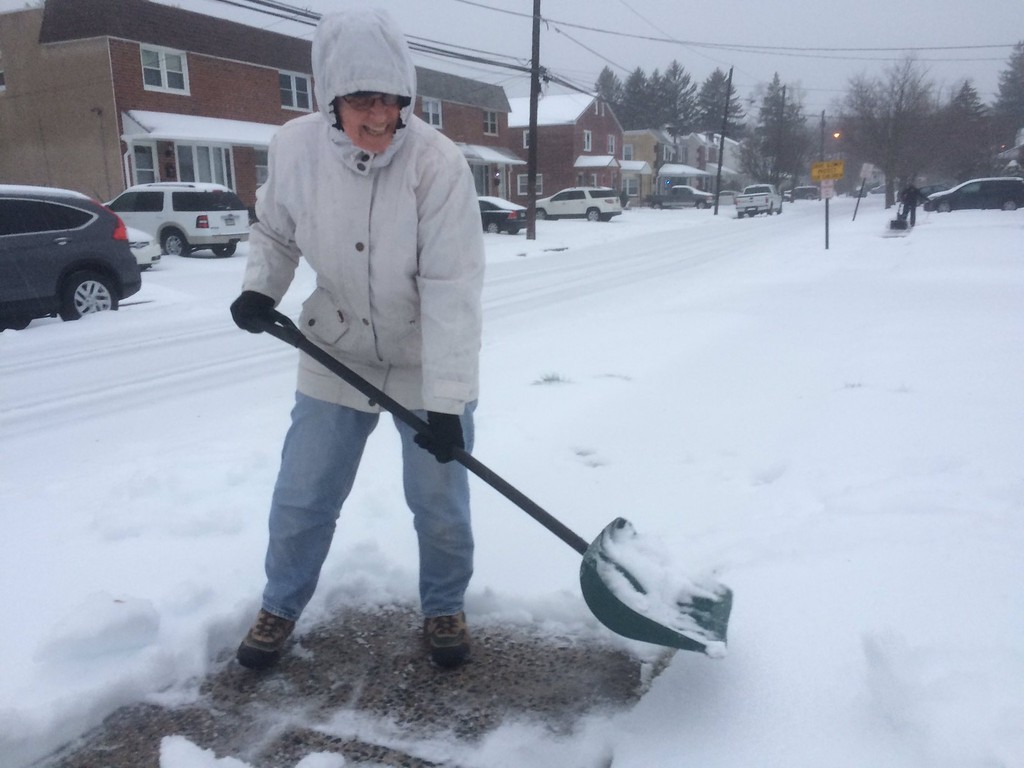 . Deb Olszewski likes to get an early start  on shoveling her #Havertown sidewalk. Photo by Pete Bannan