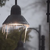 PETE  BANNAN-DIGITAL FIRST MEDIA    Icicles hang from a light at the Wayne train station Tuesday morning.