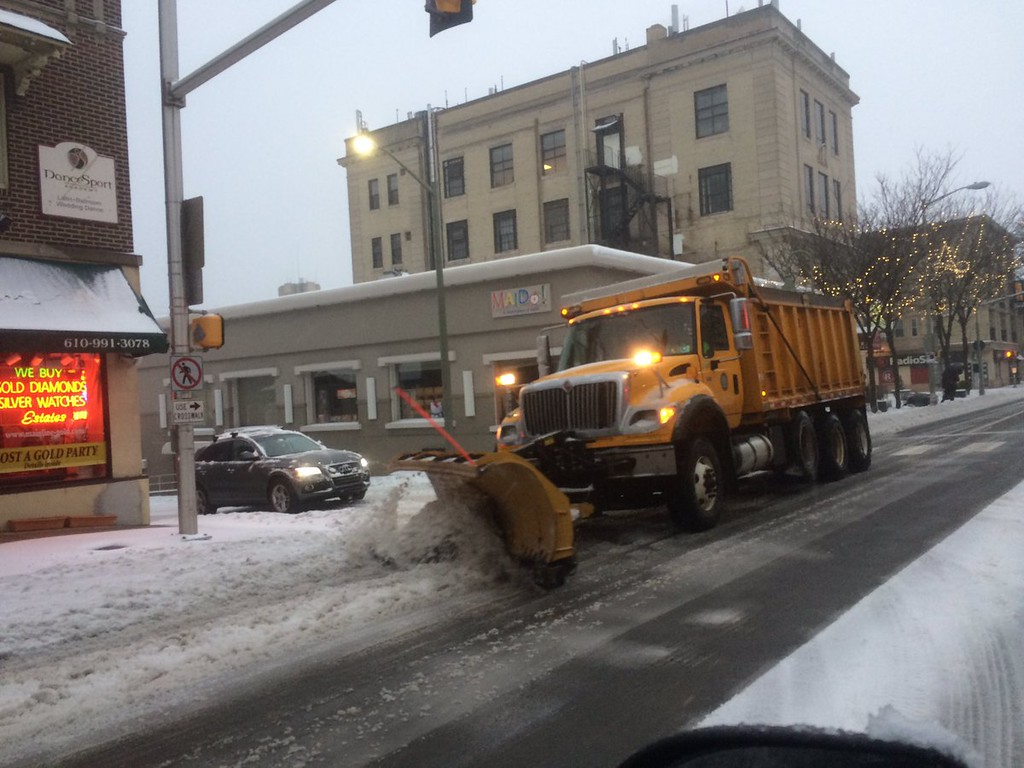 . Lancaster Ave. in Ardmore being cleared. Photo by Pete Bannan