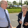 PETE  BANNAN-DIGITAL FIRST MEDIA          Republican candidate for Congress, Greg McCauley, speaks with Jackie Blake outside their Chadds Ford polling place at Hillendale Elementary school.